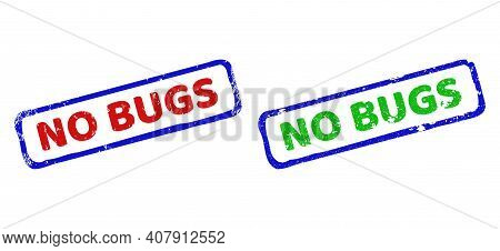 Vector No Bugs Framed Watermarks With Scratched Surface. Rough Bicolor Rectangle Watermarks. Red, Bl