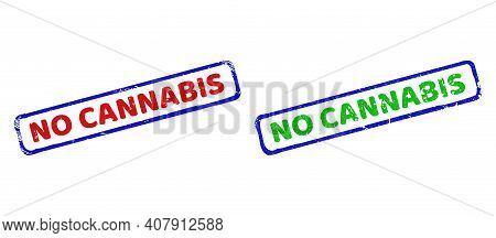 Vector No Cannabis Framed Rubber Imitations With Corroded Texture. Rough Bicolor Rectangle Stamps. R