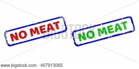 Vector No Meat Framed Imprints With Corroded Style. Rough Bicolor Rectangle Watermarks. Red, Blue, G