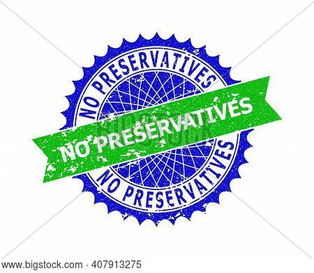 Vector No Preservatives Bicolor Stamp Seal With Corroded Surface. Blue And Green Colors. Flat Seal S