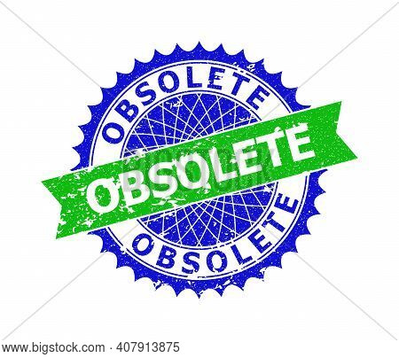 Vector Obsolete Bicolor Stamp Seal With Scratched Surface. Blue And Green Colors. Flat Seal Stamp Wi