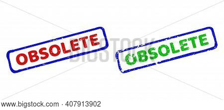 Vector Obsolete Framed Watermarks With Grunged Surface. Rough Bicolor Rectangle Stamps. Red, Blue, G