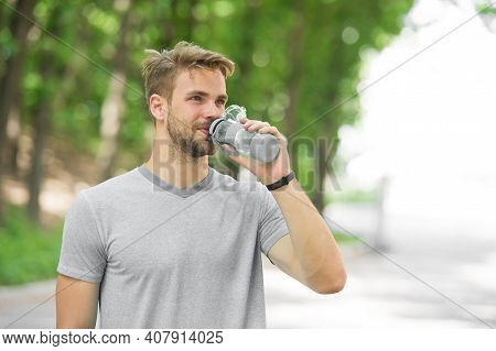 Quench Your Thirst. Man Feel Thirst. Man Drink Water Because Of Thirst. Thirst Feeling Of Man After