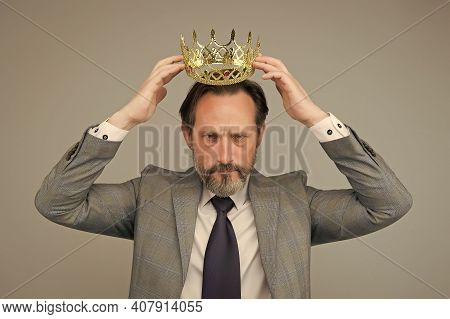 Kill Your Pride Before You Lose Your Head. Big Boss Wear Crown With Pride. Proud Businessman Grey Ba