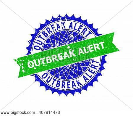 Vector Outbreak Alert Bicolor Seal With Grunge Texture. Blue And Green Colors. Flat Seal Stamp With