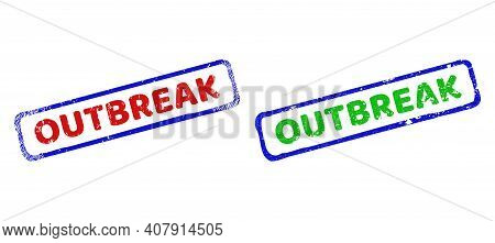 Vector Outbreak Framed Imprints With Grunge Surface. Rough Bicolor Rectangle Stamps. Red, Blue, Gree