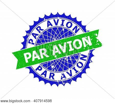 Vector Par Avion Bicolor Stamp Seal With Scratched Style. Blue And Green Colors. Flat Seal Stamp Wit