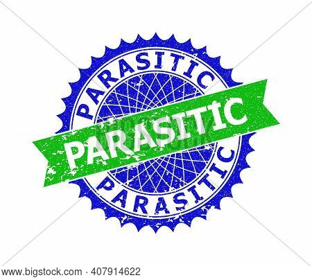 Vector Parasitic Bicolor Stamp With Grunged Texture. Blue And Green Colors. Flat Stamp With Parasiti
