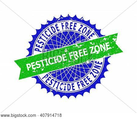 Vector Pesticide Free Zone Bicolor Seal With Scratched Surface. Blue And Green Colors. Flat Seal Wit