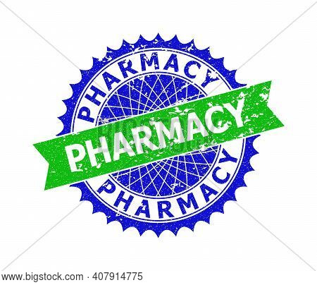 Vector Pharmacy Bicolor Stamp Seal With Grunged Texture. Blue And Green Colors. Flat Seal Stamp With