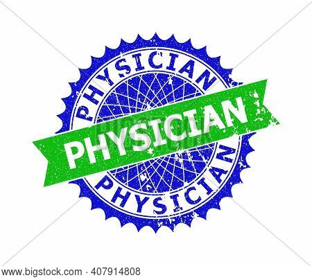 Vector Physician Bicolor Seal With Unclean Surface. Blue And Green Colors. Flat Seal Imprint With Ph