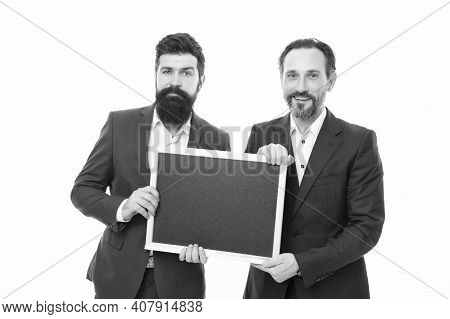 Join Our Company. Business People Concept. Men Bearded Guys Wear Formal Suits. Well Groomed Business