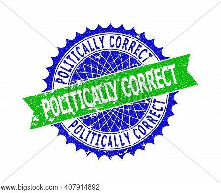 Vector Politically Correct Bicolor Seal With Corroded Surface. Blue And Green Colors. Flat Seal Stam