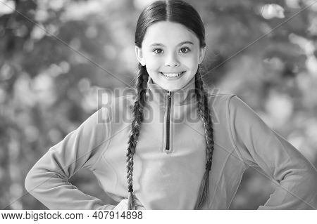 Girl Wear Fleece Jumper For Active Leisure Nature Background, Summer Vacation Concept.