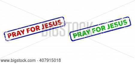 Vector Pray For Jesus Framed Watermarks With Corroded Style. Rough Bicolor Rectangle Seal Stamps. Re
