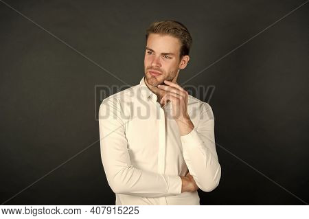 Handsome Office Worker. Man Formal Shirt. Formal Fashion. Workers Experiencing Unemployment In Downt