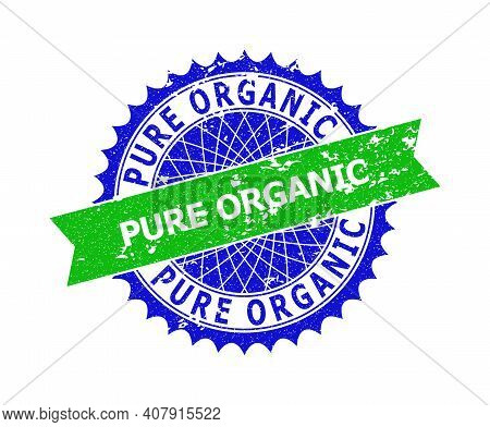 Vector Pure Organic Bicolor Seal With Distress Surface. Blue And Green Colors. Flat Seal With Pure O
