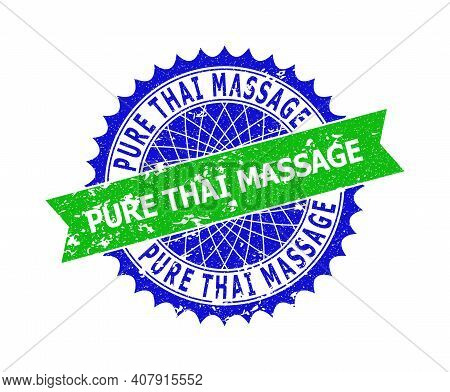 Vector Pure Thai Massage Bicolor Stamp Seal With Corroded Style. Blue And Green Colors. Flat Seal St