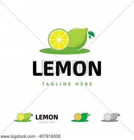 Fresh Lemon Fruit Logo Tmeplate, Lemon Slice Logo Symbol, Lemon Lime Symbol