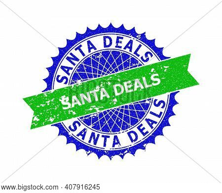 Vector Santa Deals Bicolor Stamp Seal With Rubber Style. Blue And Green Colors. Flat Seal Stamp With