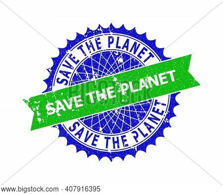 Vector Save The Planet Bicolor Stamp Seal With Corroded Style. Blue And Green Colors. Flat Stamp Wit