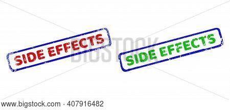 Vector Side Effects Framed Watermarks With Corroded Texture. Rough Bicolor Rectangle Seal Stamps. Re