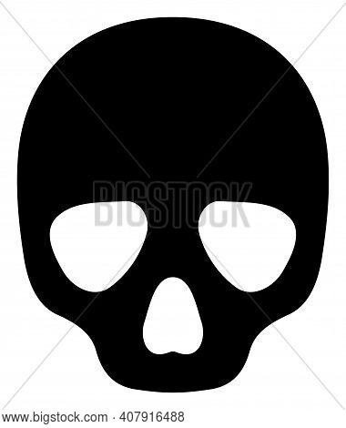Skull Icon With Flat Style On A White Background. Isolated Vector Skull Icon Image, Simple Style.