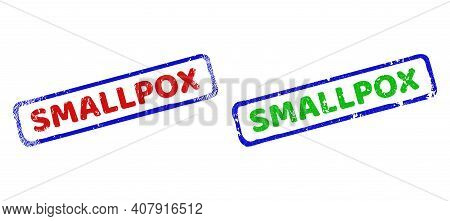 Vector Smallpox Framed Watermarks With Distress Style. Rough Bicolor Rectangle Stamps. Red, Blue, Gr