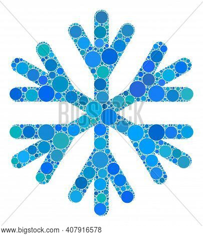 Snow Flake Vector Mosaic Of Small Circles In Various Sizes And Color Tints. Small Circles Are Groupe