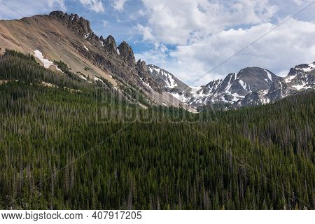 12,390 Foot (3,807 Meter) Nokhu Crags And Never Summer Mountains In Northern Colorado.