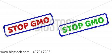 Vector Stop Gmo Framed Imprints With Grunged Surface. Rough Bicolor Rectangle Stamps. Red, Blue, Gre