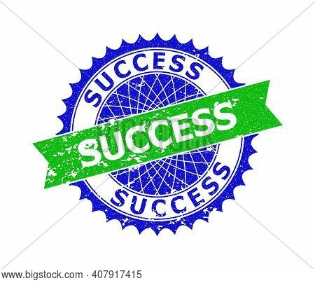 Vector Success Bicolor Stamp Seal With Corroded Style. Blue And Green Colors. Flat Stamp With Succes