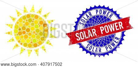 Sun Vector Mosaic Of Sharp Rosettes And Solar Power Textured Stamp Print. Bicolor Solar Power Stamp