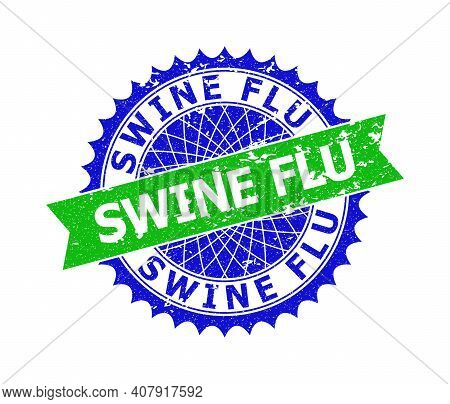 Vector Swine Flu Bicolor Seal With Grunge Texture. Blue And Green Colors. Flat Seal Imprint With Swi