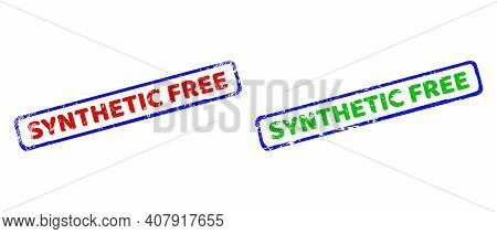 Vector Synthetic Free Framed Imprints With Grunge Surface. Rough Bicolor Rectangle Seals. Red, Blue,