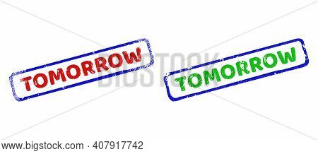 Vector Tomorrow Framed Rubber Imitations With Scratched Texture. Rough Bicolor Rectangle Seal Stamps
