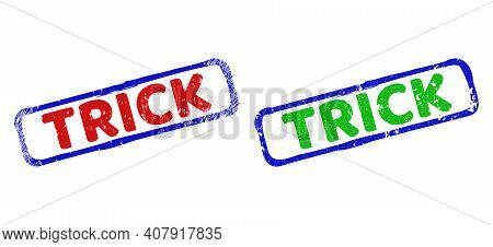 Vector Trick Framed Rubber Imitations With Distress Style. Rough Bicolor Rectangle Stamps. Red, Blue