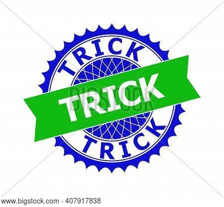 Vector Trick Bicolor Template For Imprints With Clean Surface. Flat Clean Seal Template With Trick C