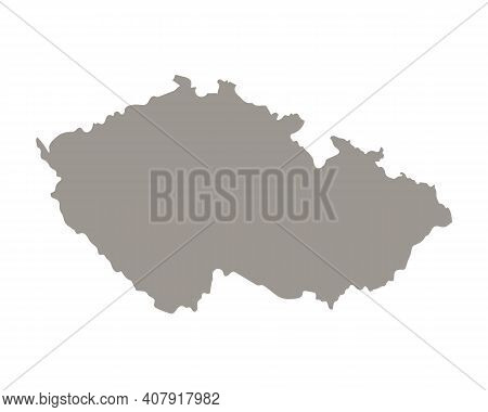 Silhouette Of Czech Country Map. Highly Detailed Editable Gray Map Of Czech, European Land Territory