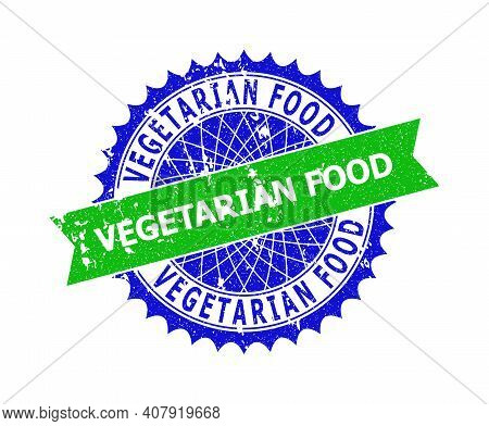 Vector Vegetarian Food Bicolor Stamp Seal With Rough Style. Blue And Green Colors. Flat Seal Stamp W