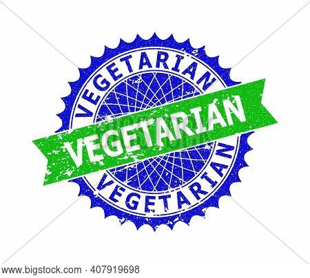 Vector Vegetarian Bicolor Seal With Corroded Style. Blue And Green Colors. Flat Seal Stamp With Vege