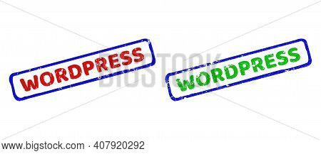 Vector Wordpress Framed Watermarks With Unclean Texture. Rough Bicolor Rectangle Seals. Red, Blue, G