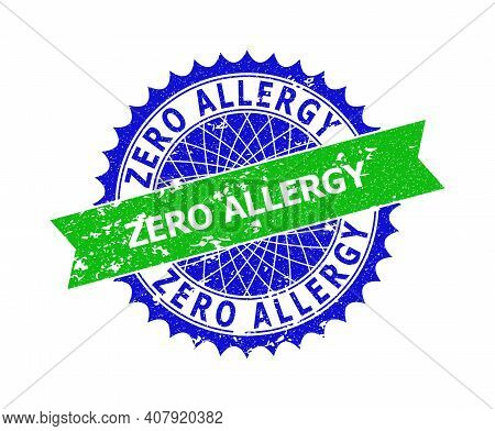 Vector Zero Allergy Bicolor Seal With Rough Texture. Blue And Green Colors. Flat Seal With Zero Alle