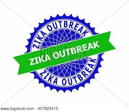 Vector Zika Outbreak Bicolor Template For Rubber Imitations With Clean Surface. Flat Clean Seal Temp