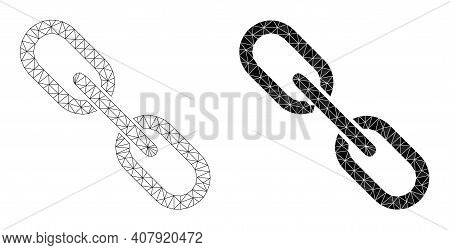 Mesh Chain Polygonal Icon Illustrations, Filled And Carcass Versions. Vector Wire Frame Chain Icons.