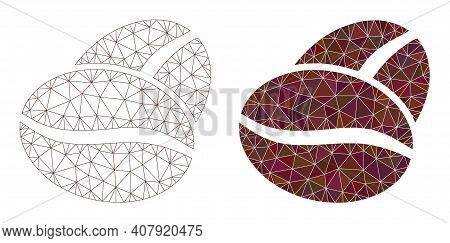 Mesh Coffee Bean Polygonal Icon Illustrations, Filled And Carcass Versions. Vector Wire Frame Coffee