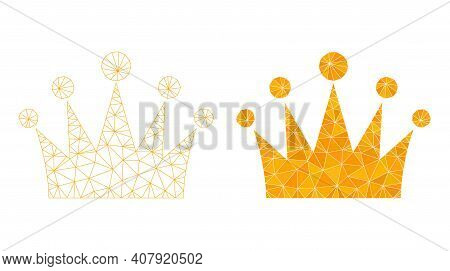 Mesh Crown Polygonal 2d Illustrations, Filled And Carcass Versions. Vector Net Mesh Crown Icons. Wir