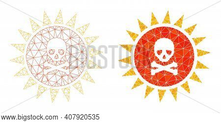 Mesh Death Sun Radiation Polygonal Icon Illustrations, Filled And Carcass Versions. Vector Net Death