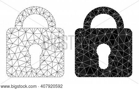 Mesh Lock Polygonal Icon Illustrations, Filled And Carcass Versions. Vector Wire Frame Lock Icons. W