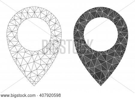 Mesh Map Marker Polygonal 2d Illustrations, Filled And Carcass Versions. Vector Net Mesh Map Marker